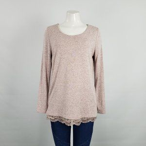 Tribal Jeans Pink Knit Lace Top Size M